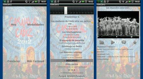 Capturas de pantalla de la aplicación