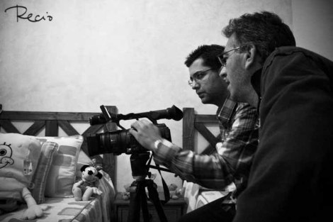 Rafael Sadoc durante el rodaje de uno de sus cortos